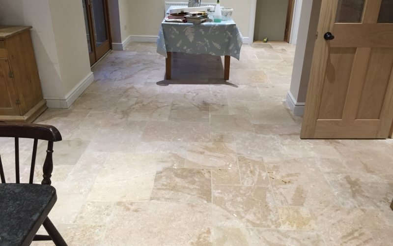 Stone floor in opas lime stone, this was laid in a beautiful cottage in Winchester. You can see how it compliments the Oak kitchen and doors.